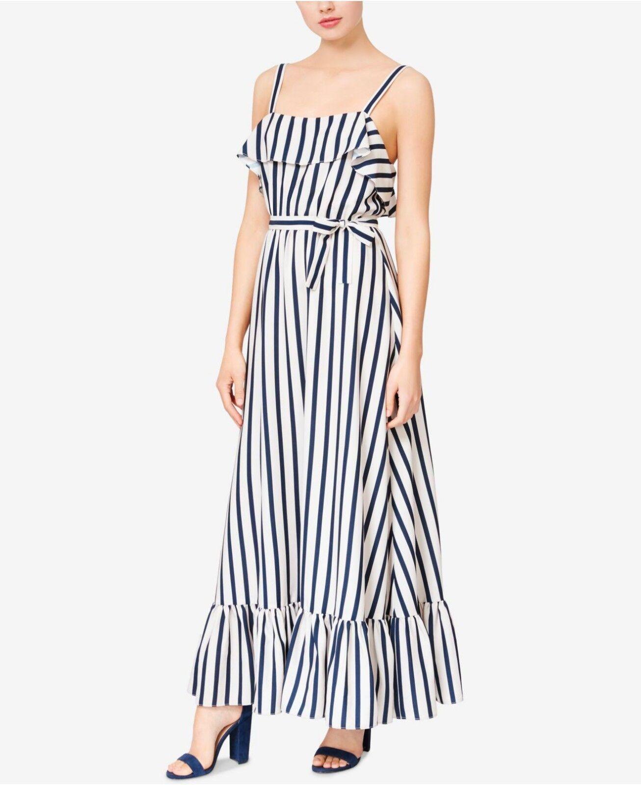 NWT  - BETSEY JOHNSON Striped Ruffle Hem Maxi Dress, Cream   Navy, Größe 8