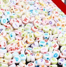 200pcs Acrylic Beads Spacer Letters DIY Bracelet Jewelry Kids Beaded Findings