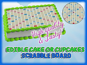 SCRABBLE-Cake-Toppers-Edible-image-sugar-SHEET-topper-Birthday-icing-frosting