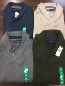 Nautica-Mens-Pullover-Shawl-Collar-V-neck-Cotton-Sweater-NWT
