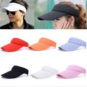 b14330b458abeb Women Men Plain Visor Sun Cap Outdoor Adjustable Sport Golf Tennis ...