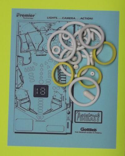 1990 Gottlieb pinball rubber ring kit Premier Lights Camera Action