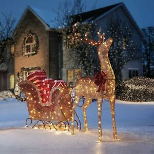 new christmas ombre led lighted reindeer buck sleigh