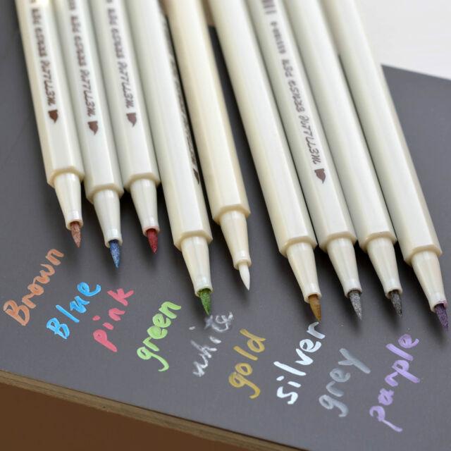 Metallic Soft BRUSH Marker Pens Gold Silver White Pink Color Ink Scrapbook Card