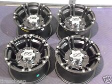 """12"""" POLARIS RZR 800 ALUMINUM ATV WHEELS NEW SET 4 LIFETIME WARRANTY SS212 BLK"""