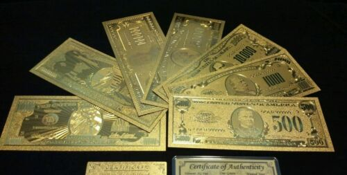 FLAKE MAKE OFFER/<FULL SET/>10Pc.LOT~COIN+GOLD$1BILLION-$500 Rep.*Banknotes W//COA