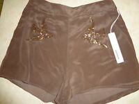 Juniors Large Line & Dot Shorts Doves Beads Price Tag $121 Gorgeous Silk