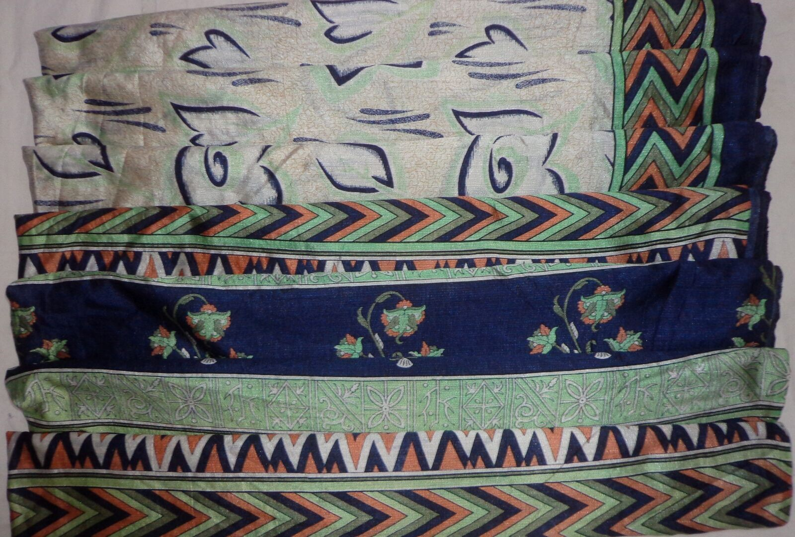 WEARABLE SILK BLEND ANTIQUE VINTAGE SARI SAREE 5 YD A3 369 Cream Navyblue #ABHS1