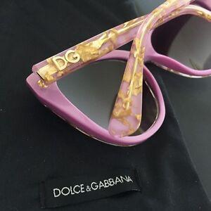 Dolce-amp-Gabbana-DG4250-Gold-Leaf-on-Violet-Ladies-Sunglasses-Cat-Eye-NWT-Case