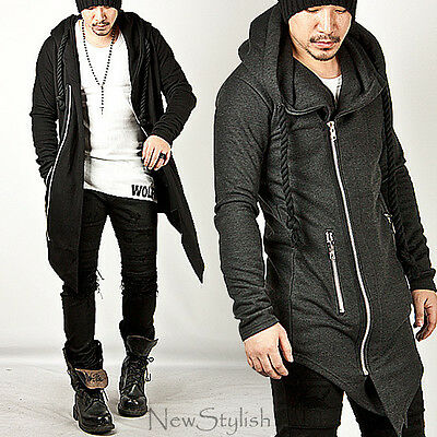 NewStylish Mens Fashion Outwear Asymmetric Thick Rope Strap Long Zip-up Hoodie