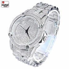 Men's Fashion Analog Stainless Steel Iced Out Heavy Metal Band Watches WM 7754 S