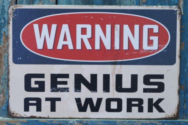 warning sign genius at work metal tin signs office home decor ebay