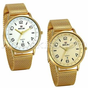 Men-039-s-Luxury-Gold-Tone-Stainless-Steel-Mesh-Band-12-24-Hours-Quartz-Wrist-Watch