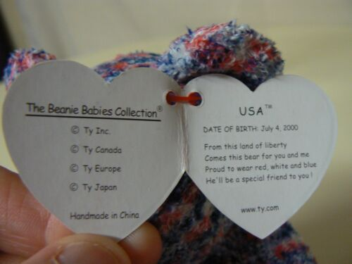 Ty Beanie Baby USA Plush Red White and Blue Bear with USA on Chest 2000 Star