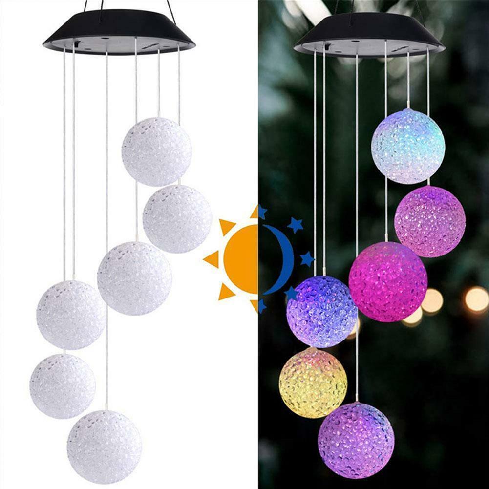LED Light Hanging Wind Chimes Solar Powered Colour Decor Garden Outdoor C1E6