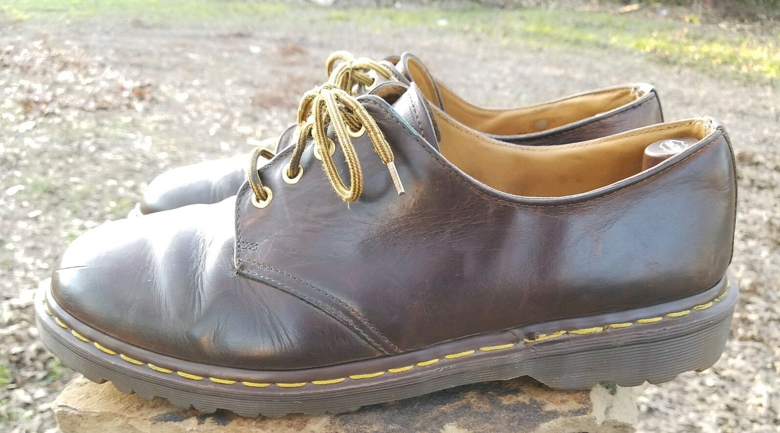 Doc DR MARTENS Distressed Brown Leather 4-Eye Gibson 1561 Men's Size US 14