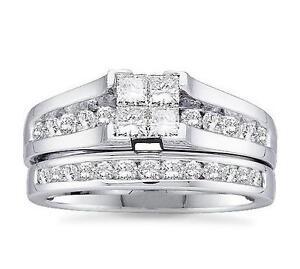 10-Quilates-Oro-Blanco-amp-Corte-de-Princesa-Diamante-de-Compromiso-y-Boda