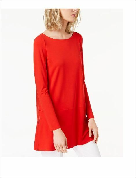 NWT Eileen Fisher Stretch Jersey Boat-Neck Top Tunic M Lava