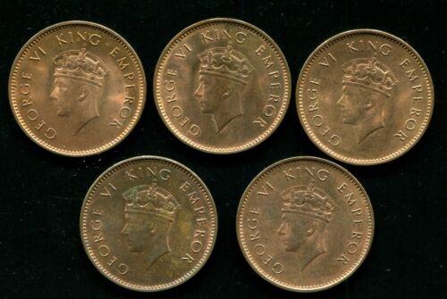 BRITISH INDIA KG VI ONE QUARTER ANNA COPPER COIN,1938,UNC