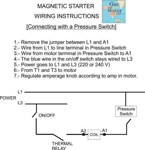 MAGNETIC MOTOR STARTER CONTROL 5 HP Single Phase 220//240V 24-34A on//off button