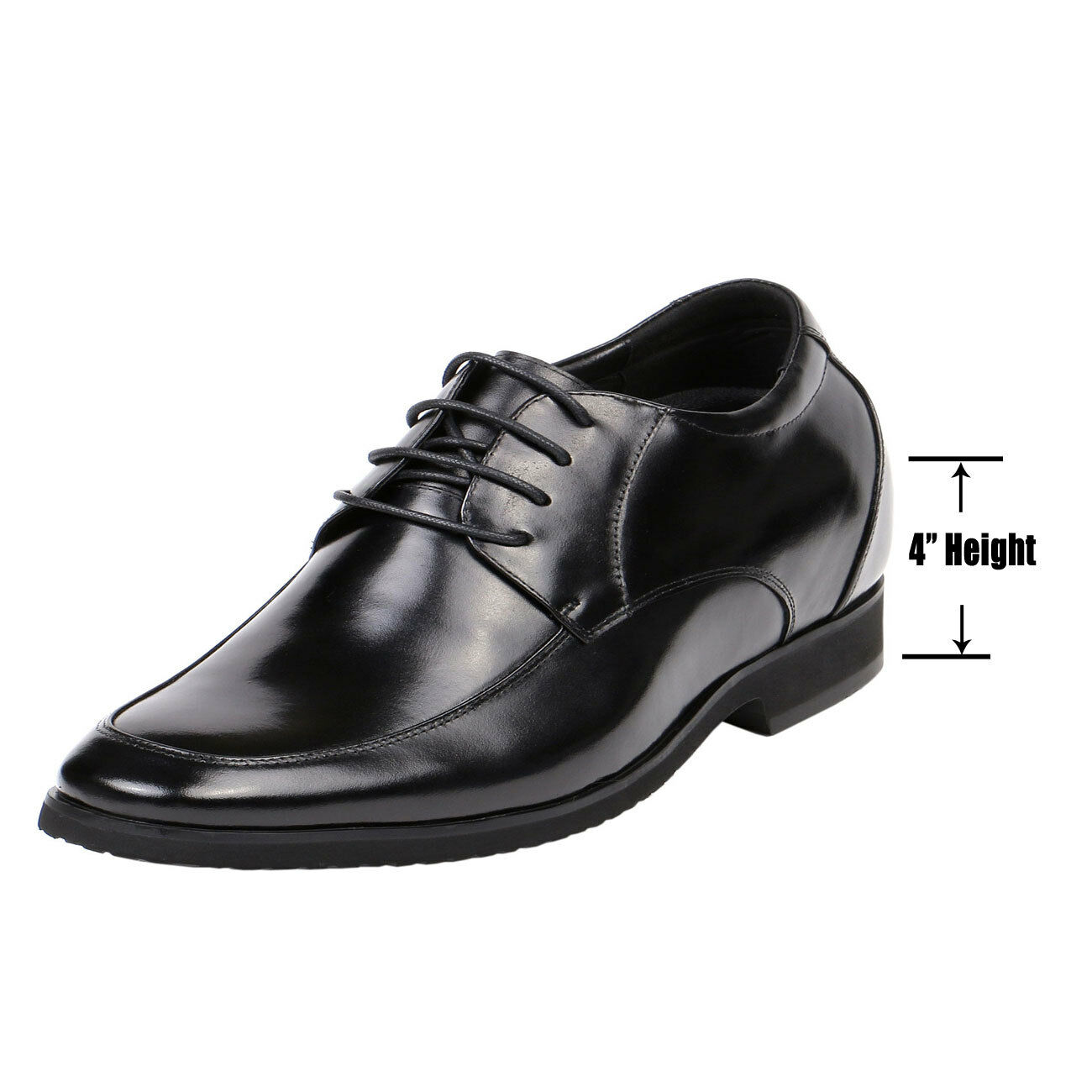4 (environ 10.16 cm) Hauteur Augmentation Plain Toe Derby Hommes Innovation Chaussures Semi Brillant G82D