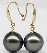 HOT AAA 10-11MM PERFECT ROUND TAHITIAN BLACK PEARL EARRING 14K GOLD