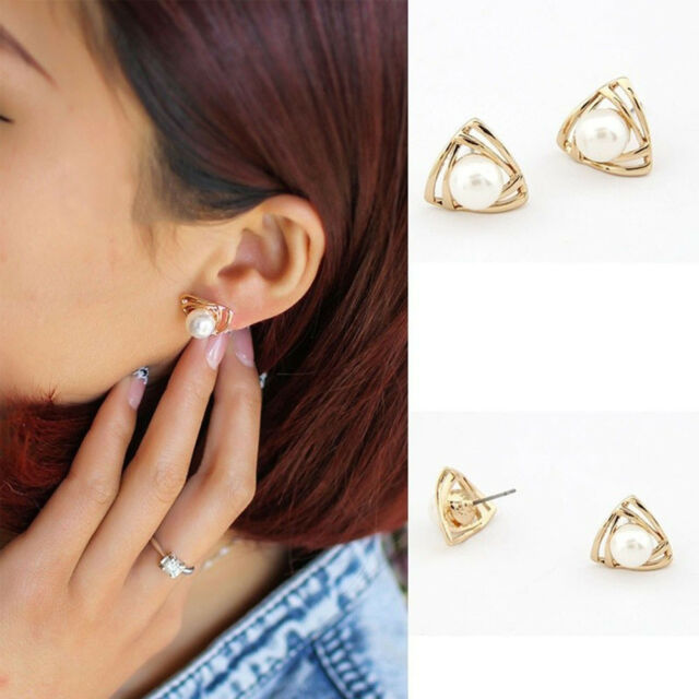 Fashion New Top Triangle Imitation Pearl For Wife Stud Earrings Jewelry