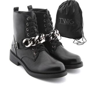 Anfibi-donna-TWIG-T278-stivali-stivaletti-scarpe-fibbie-catene-scarponcini-nero