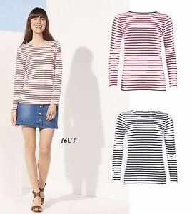 SOL-039-S-Ladies-Marine-Long-Sleeve-Stripe-T-Shirt-Red-White-Blue-White-French-Brand