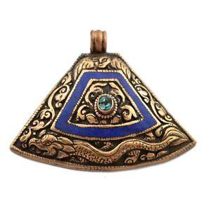 Repousse-Dragon-Lapis-Turquoise-Copper-Pendant-Tibetan-Nepalese-Handmade-PD961