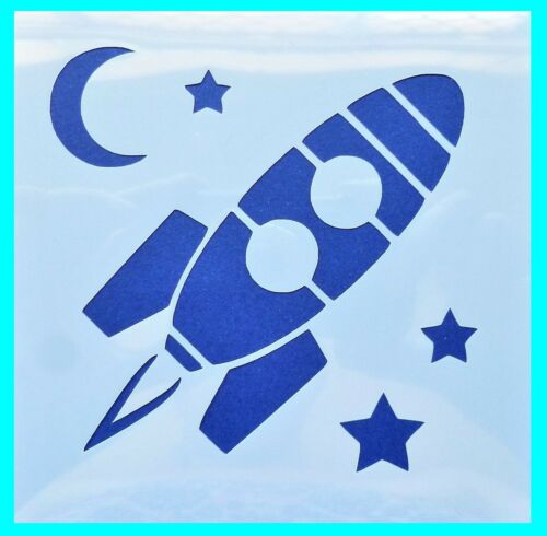 Medium Large Card Making Crafts Stars Space Flexible Stencil *ROCKET* Small