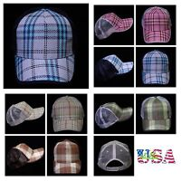 Plain Baseball Cap Fashion Hat Casual Plaid Hats Trucker Snapback Unisex Caps