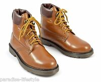 Mens Tan Boots Leather Shoes Lace Up Eyelets Rubber Sole Free Delivery Size 10