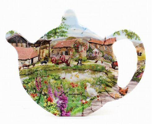 Tea Pot Shaped Duck Pond Farmyard Themed Tea Bag Tidy