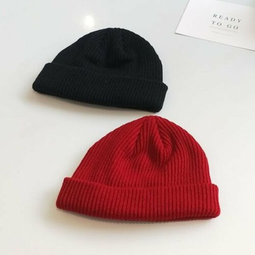Men Women Winter Plain Beanie Warm Hat Ribbed Turn Ski Fisherman Cap Docker Hat