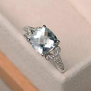 2.95 Ct Cushion Diamond Engagement Aquamarine Ring 14K White Gold Finish Size 5