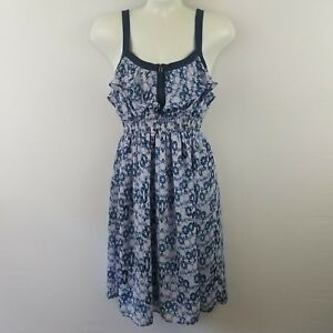 I-Love-Ronson-Womens-Dress-XS-Blue-Floral-Smocked-Zip-Empire-Waist-Thick-Straps