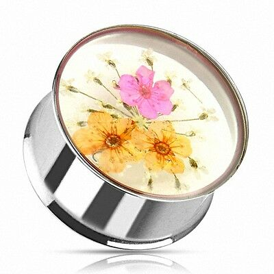 Flesh Ohr Tunnel Plug Piercing Double Flared Sommer Blumen Inlay Pink & Gelb
