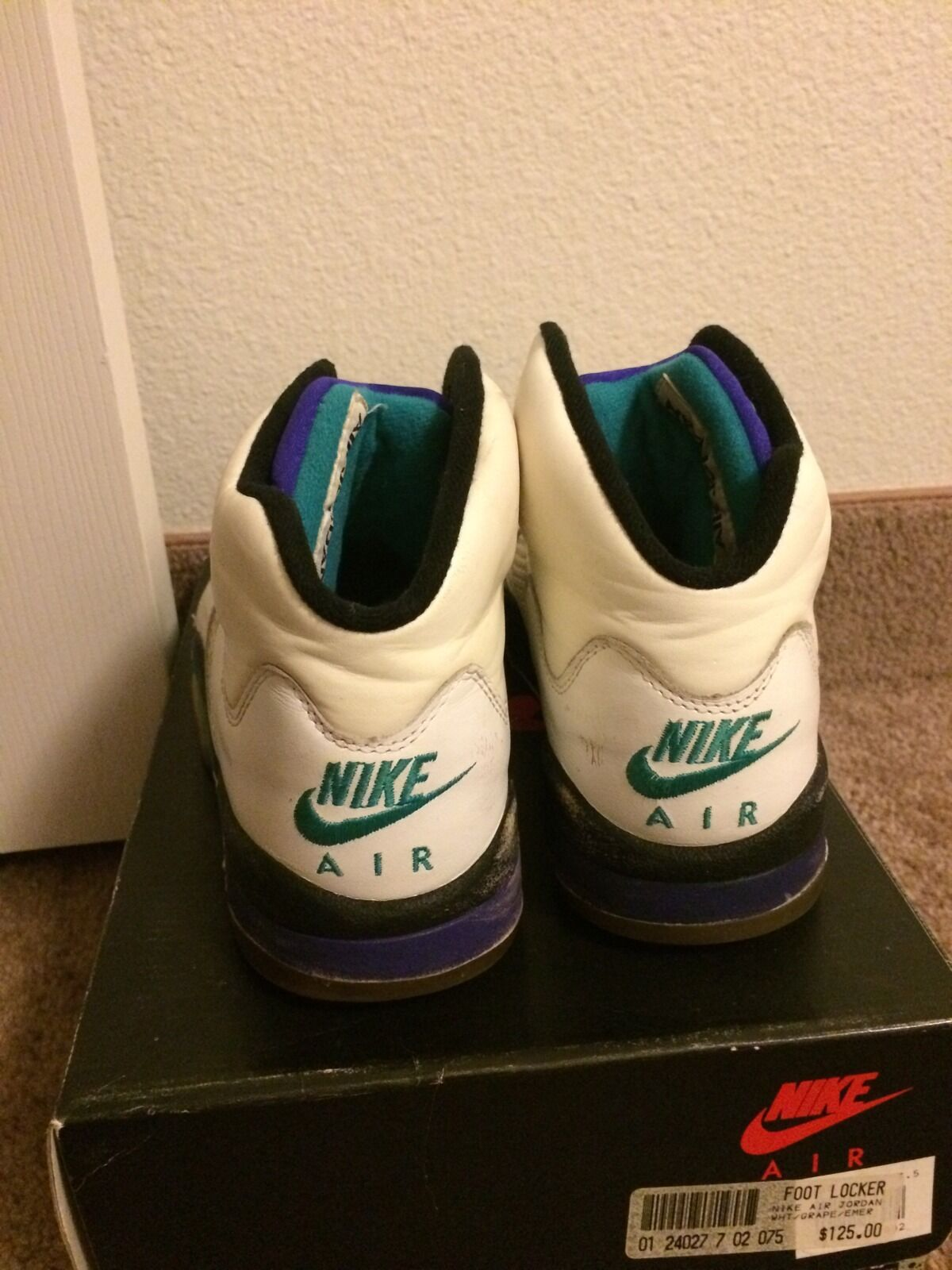 Extremely Rare Vintage 1990 Original OG Nike Air Jordan V 5 Grapes Emerald sz7.5