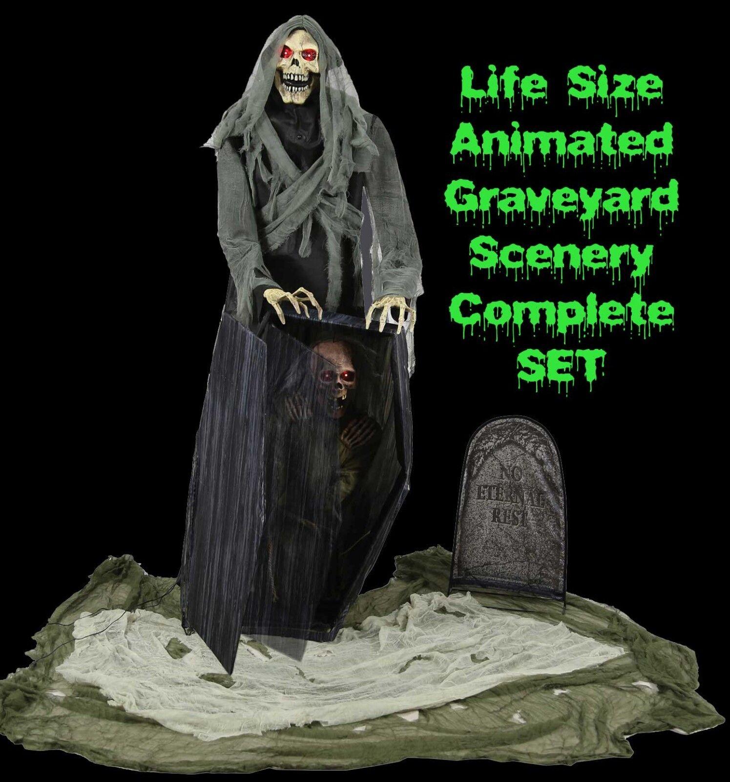 Animé Taille Réelle Cimetière Reaper Cercueil Parlante Parlante Cercueil Haunted House Horror-Prop d61617