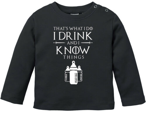 Baby Langarmshirt Babyshirt I Drink and I Know Things Milch Jungen Mädchen