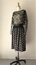 Dries Van Noten Iridescent Crescent Printed Black Slubby Silk Skirt Sz 36