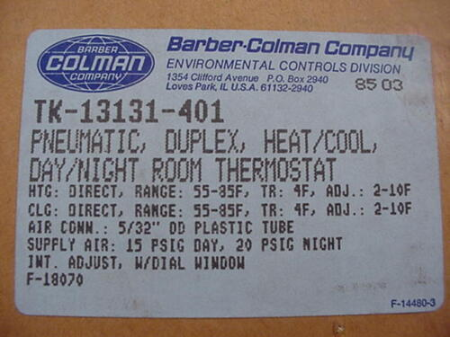 Barber Colman TK-13131-401 Pneumatic Thermostat Ships on the Same Day