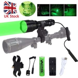 Tactical 8000LM Flashlight Lamp Hunting Air Rifle Torch Light Scope Mount C8