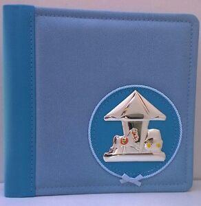 Album Portafoto Azzurro Bimbi con Applicazione Giostra in Argento 925