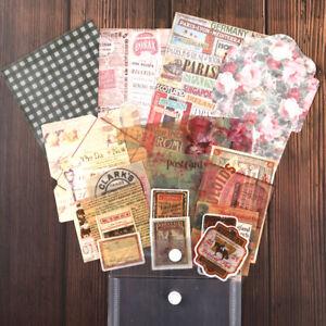 29x-Retro-Papier-Scrapbooking-DIY-Karten-Bastel-Making-Junk-Journal-Kuenst-Decor
