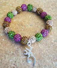 Pink and Green Camo Browning Rustic Inspired Bella Cuff Shamballa bracelet