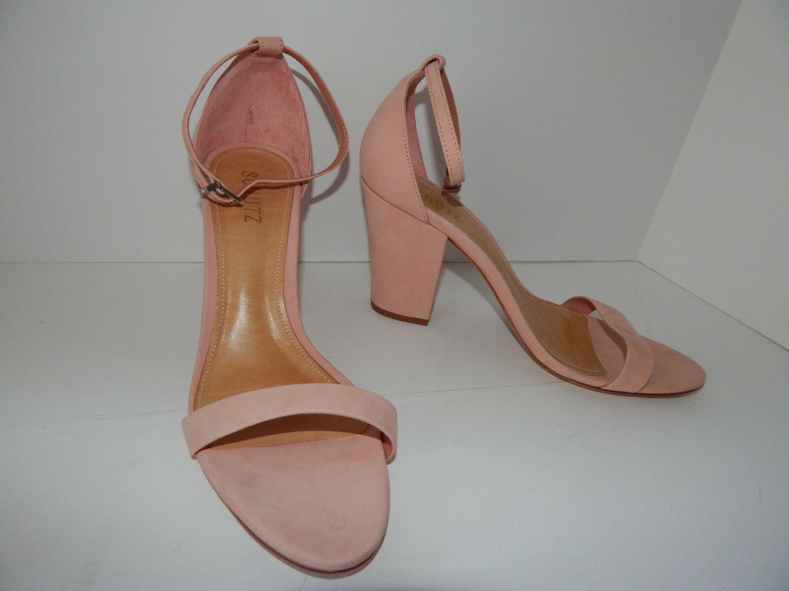 BHLDN 6 HEELS NUBUCK LEATHER pink ANKLE BUCKLE BRIDAL ALICIA SCHUTZ  170 EUC