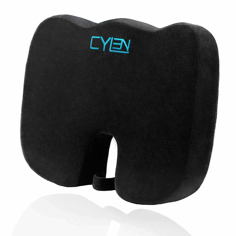 Cylen -Memory Foam Bamboo Charcoal Infused Ventilated Orthopedic Seat Cushion Fo