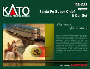 N-Scale-Kato-106-083-Santa-Fe-Super-Chief-8-Car-Set-w-Display-Unitrack